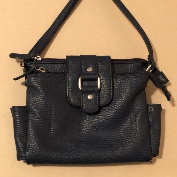 Handbags - Navy Blue Faux Leather Crossbody Bag Purse